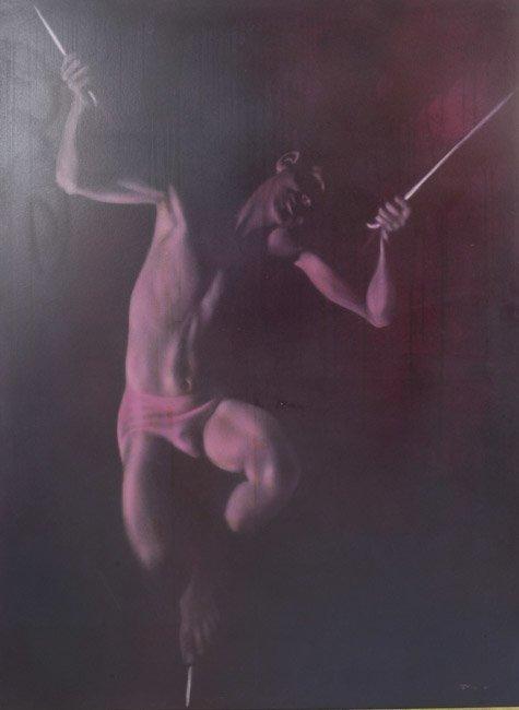 Robert R. Bliss Oil on Masonite Boy on Tightrope