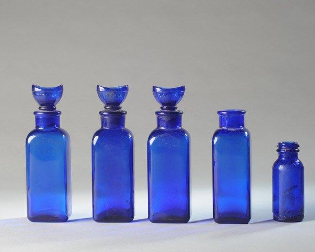 Lot of Cobalt Blue Pharmacy Bottles