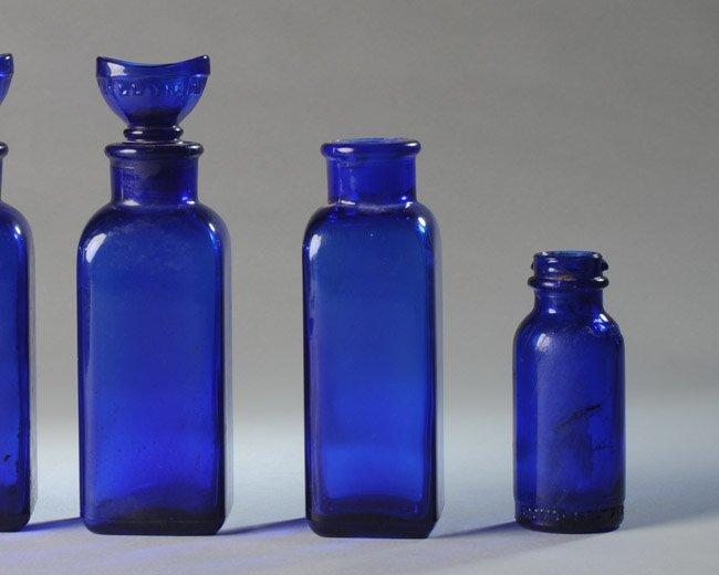 Lot of Cobalt Blue Pharmacy Bottles - 2