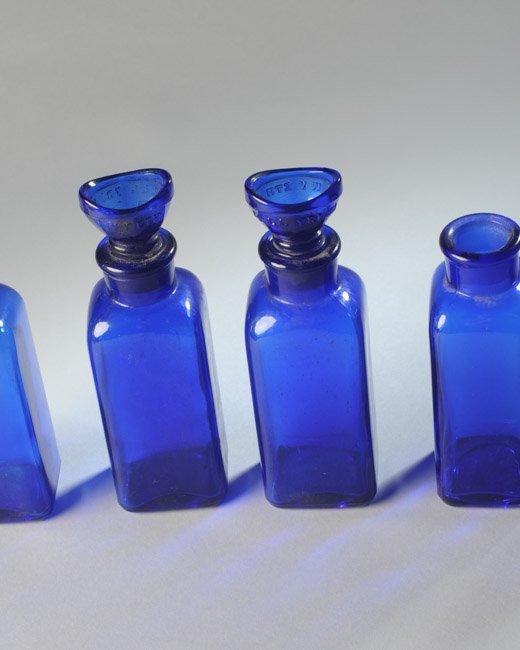 Lot of Cobalt Blue Pharmacy Bottles - 3