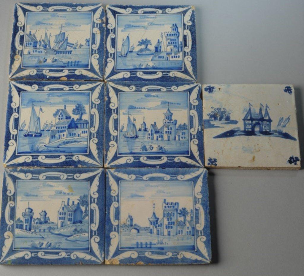 Seven 19th C. Dutch Scenic Tiles