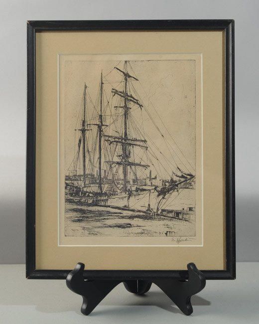 Earl Horter (1881-1940) Etching of Harbor Scene