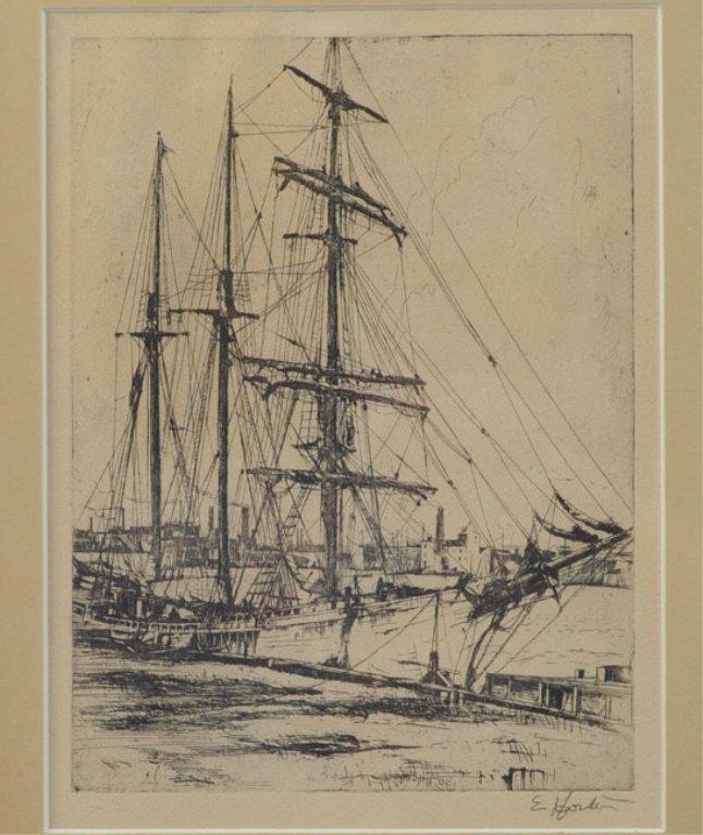 Earl Horter (1881-1940) Etching of Harbor Scene - 2