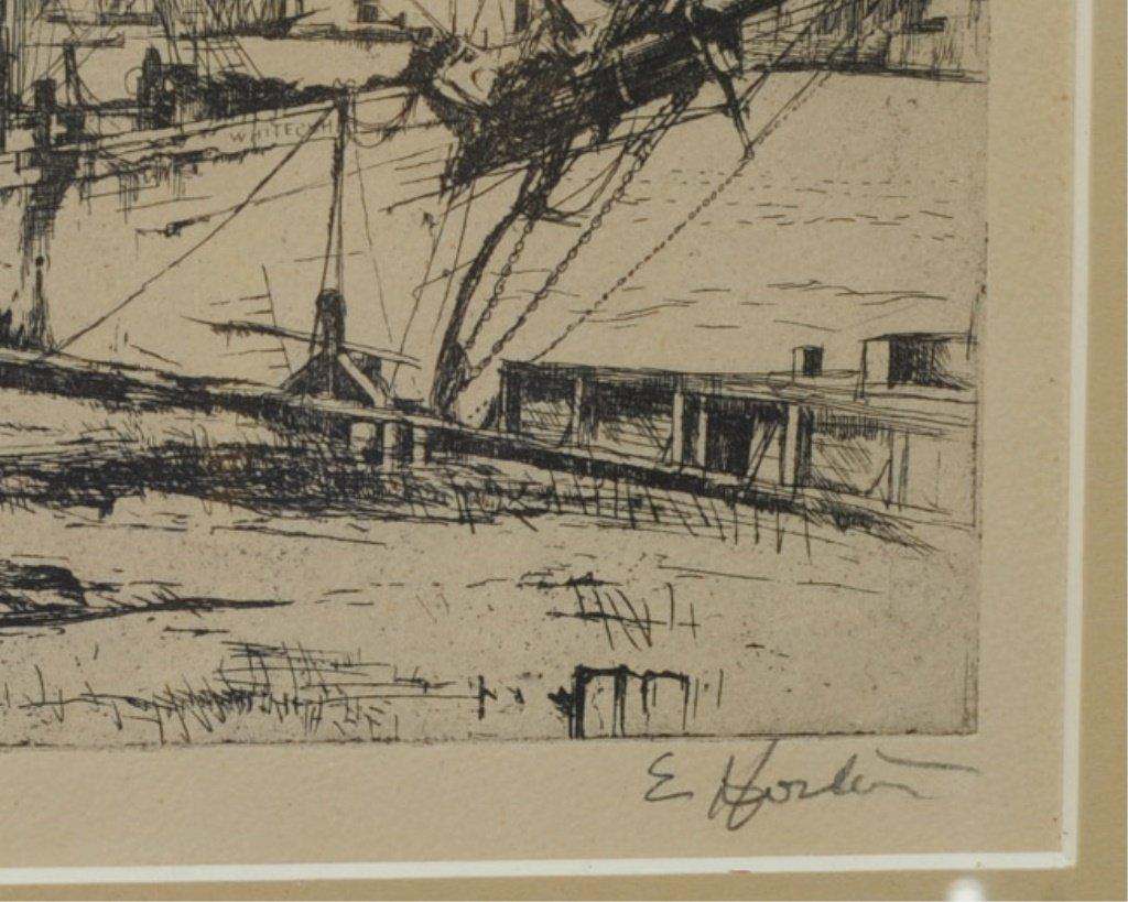 Earl Horter (1881-1940) Etching of Harbor Scene - 3
