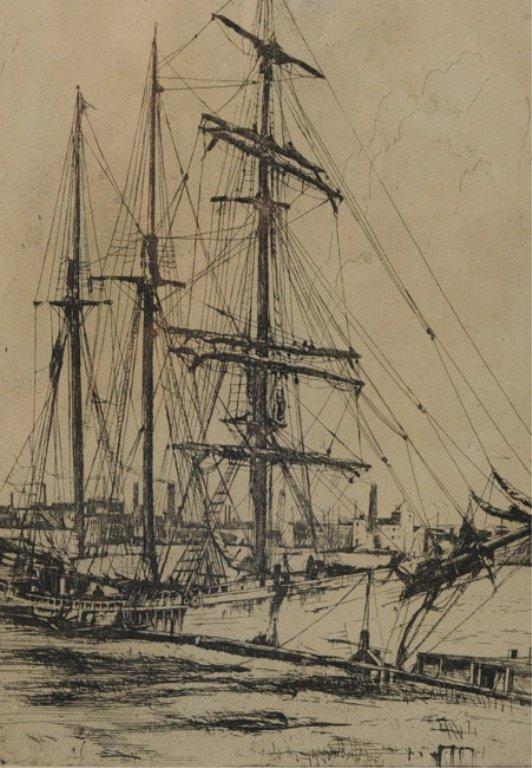 Earl Horter (1881-1940) Etching of Harbor Scene - 4