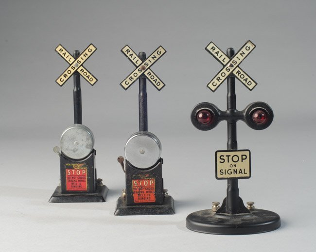 Lot of Three Railroad Crossing Signals, Marx Etc.