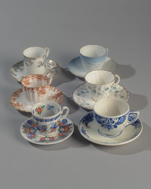 Six Demitasse Cups and Saucers