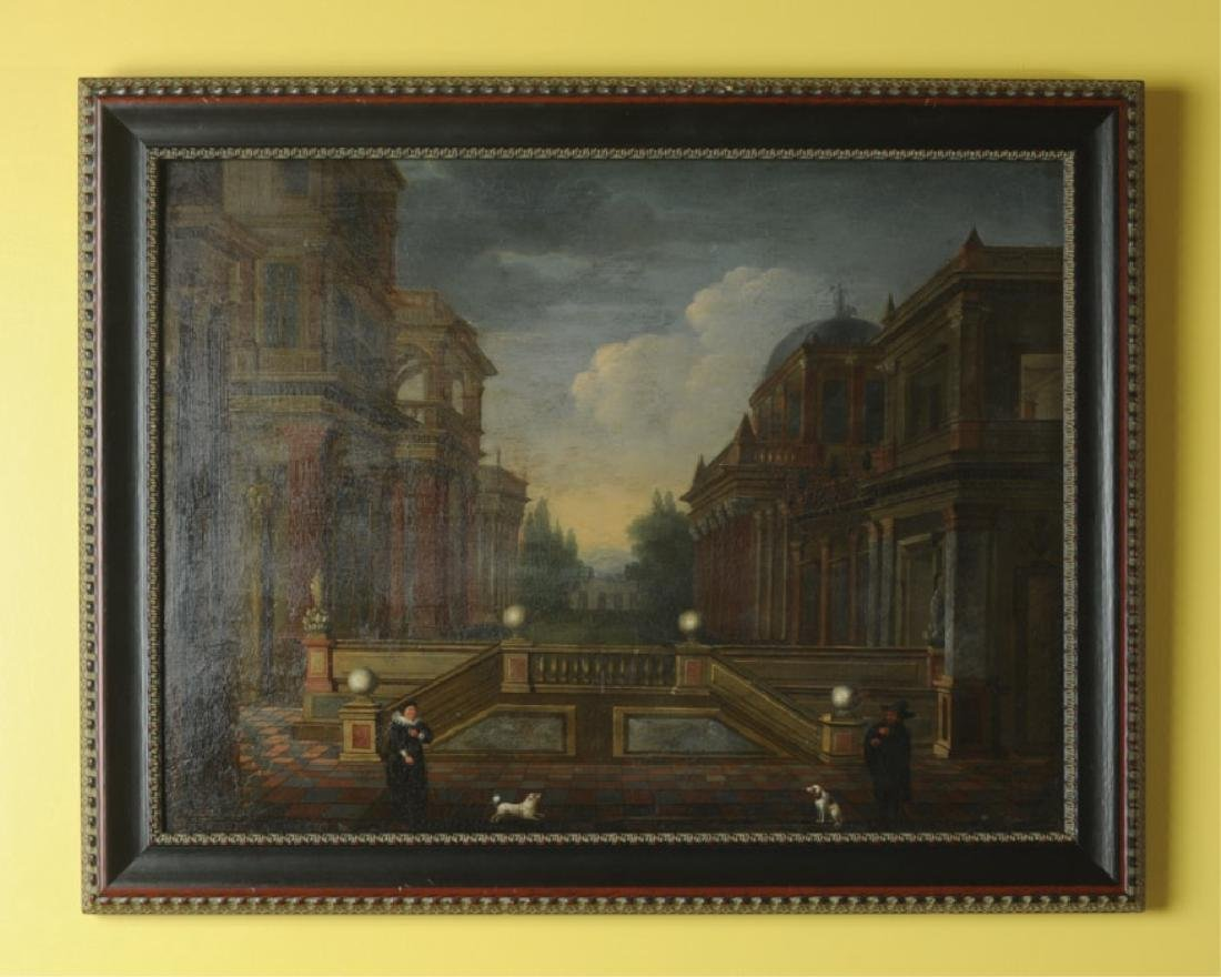Late 18th / Early 19th C. Oil on Board City Scene