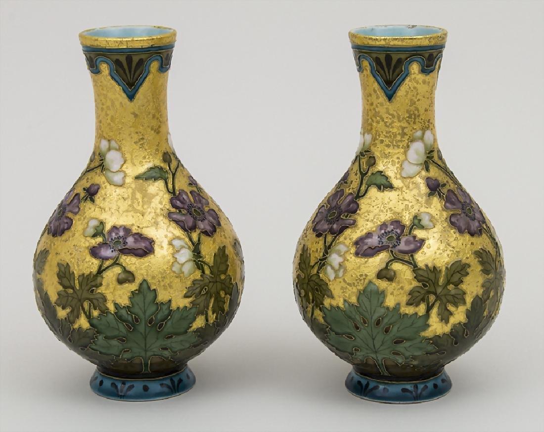 Paar Jugendstil Vasen / A pair of Art Nouveau vases, - 2
