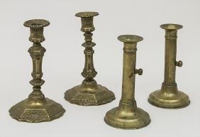 2 Paar Messingleuchter / 2 pairs of brass candlesticks,