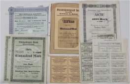 Lot Aktien, Erneuerungsscheine, Dividendenscheine 1923