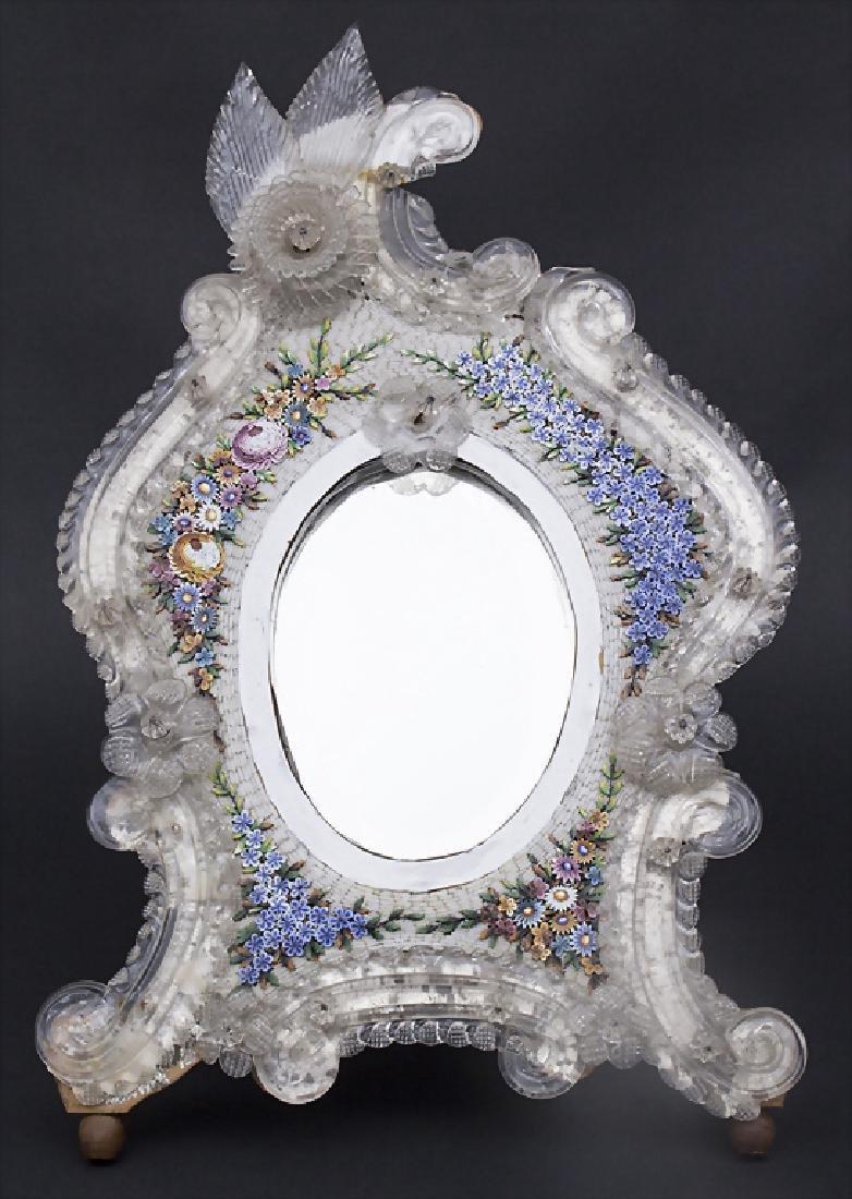 Tischspiegel mit floralem Mikromosaik / A table mirror