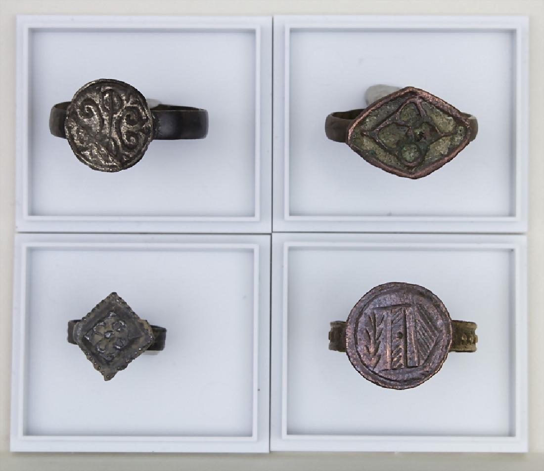 4 mittelalterliche Siegelringe / 4 medieval signet