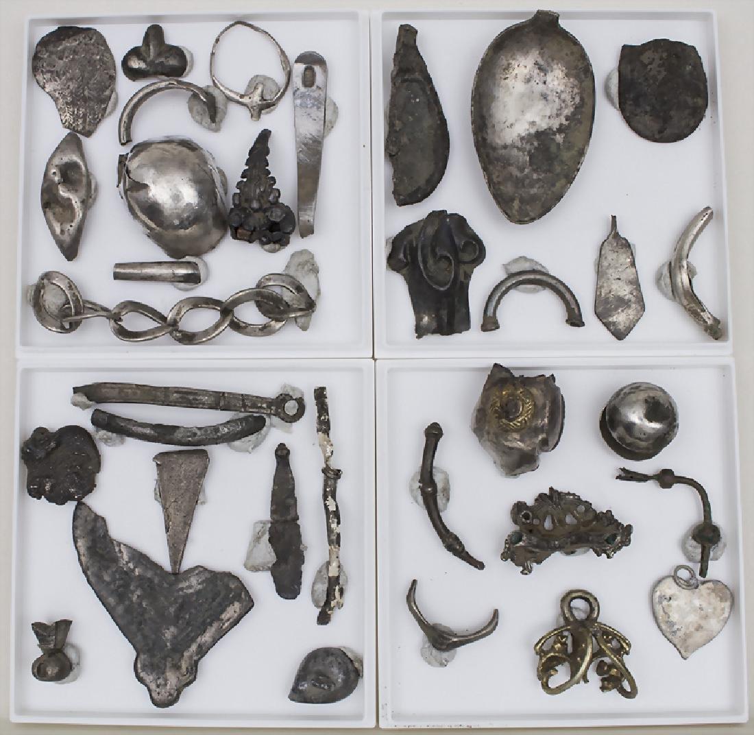 34 Silber-Artefakte verschiedener Epochen / 34 silver