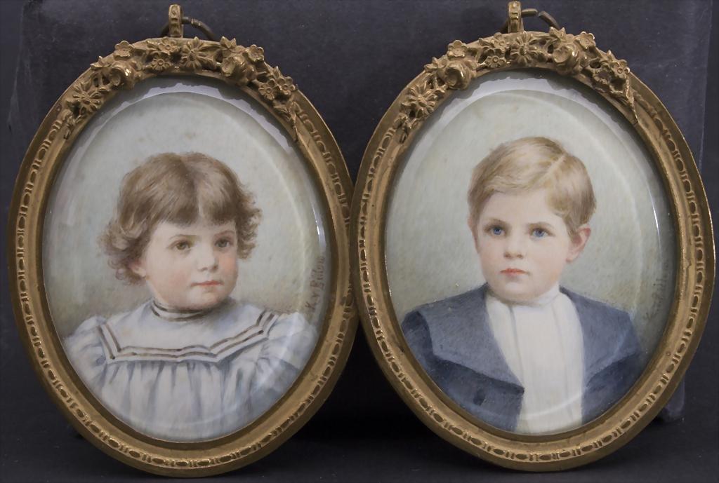 2 Miniaturen 'Geschwister' / 2 miniatures 'siblings' ,