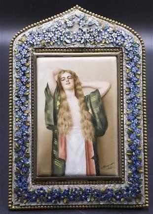 Porzellanbild Damenbildnis / A porcelain picture of a