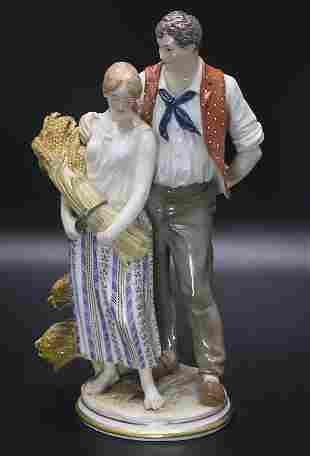 Jugendstil Figurengruppe 'Junges Bauernpaar mit