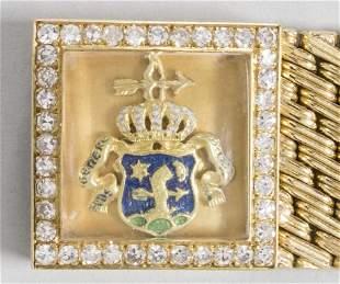 Armband mit Diamanten und Adelswappan / A 18k gold