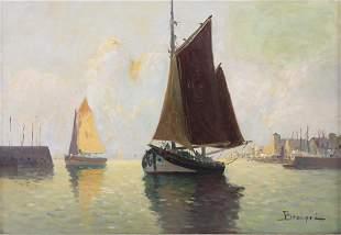 Bastien Beaupré (19./20. Jh.), 'Segelschiff im Hafen' /