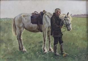 Paul Haslbauer, 'Mann mit Schimmel auf der Weide' / 'A
