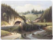 Künstler des 19. Jh., 'Zwei Wanderer im Schwarzwald' /