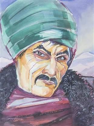 Hardy Schneider-Sato (1919-2002), 'Mann mit Turban' /