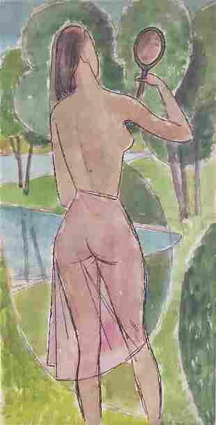 Willi Hertlein (1908-1968), 'Frauenakt vor Spiegel' /