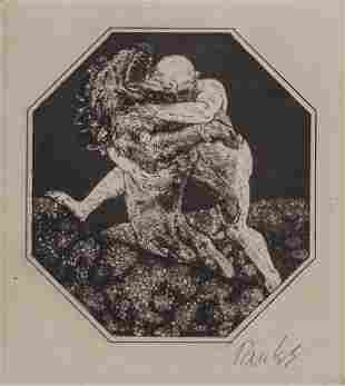 Exlibris Bernhard Pankok (1872-1943), 'Mann im Kampf