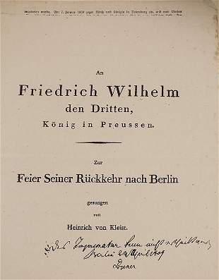 Konvolut H. v. Kleist / Convolute H. v. Kleist