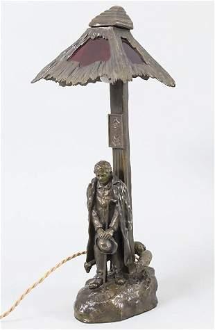 Bronze Lampe, T. Hus, um 1910  Material: Bronze,
