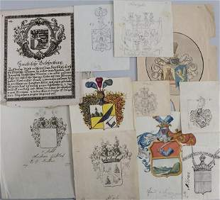 Heraldik Konvolut aus 11 Adelswappen / A collection of