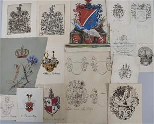 Heraldik Konvolut aus 17 Adelswappen / A collection of