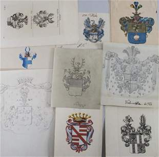 Heraldik Konvolut aus 9 Adelswappen / A collection of 9