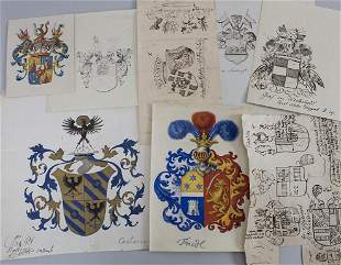 Heraldik Konvolut aus 8 Adelswappen / A collection of 8