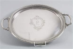 Tablett / A silver tray, Koch & Bergfeld, Bremen, um