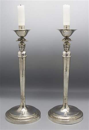 Paar Empire Leuchter / A pair of Empire silver