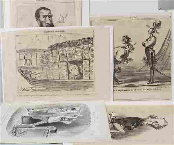 Honoré Daumier (1808-1879), 5 Karikatur-Lithografien /