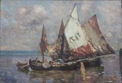 August Lemmer (Deutz 1862-?), Fischerboote vor Venedig