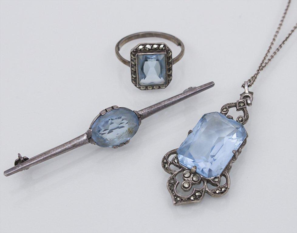Art Deco Set, Pforzheim Material: Silber, Aquamarin,