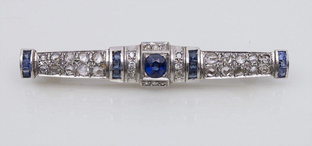 Art Deco Brosche mit Saphiren und Diamanten / Brooch