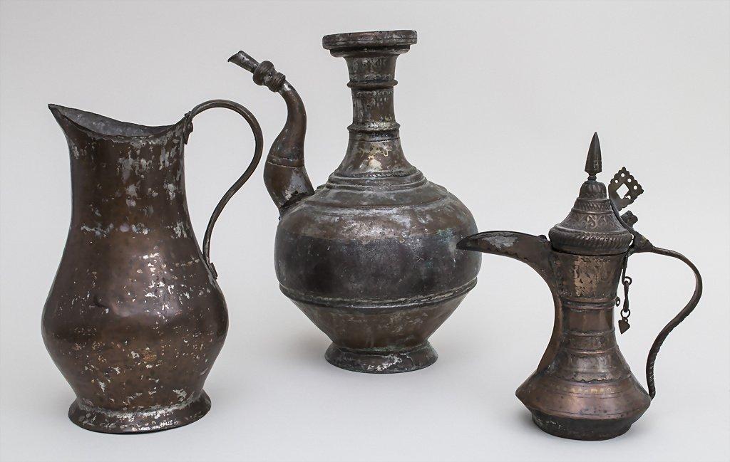 Konvolut 3 Kupferkannen / Copper Cans, Nordafrika