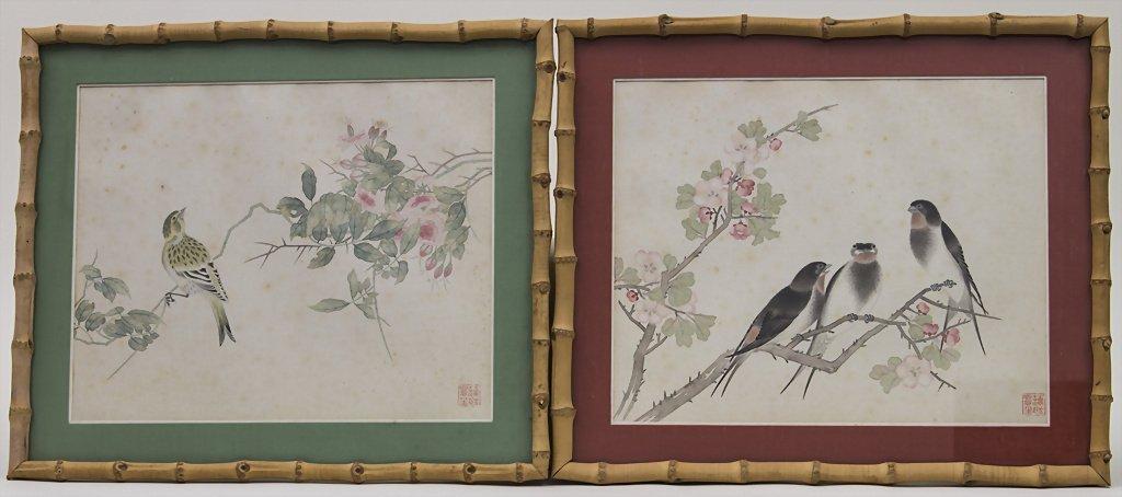 2 Aquarelle / Watercolor Paintings on Silk, China, um