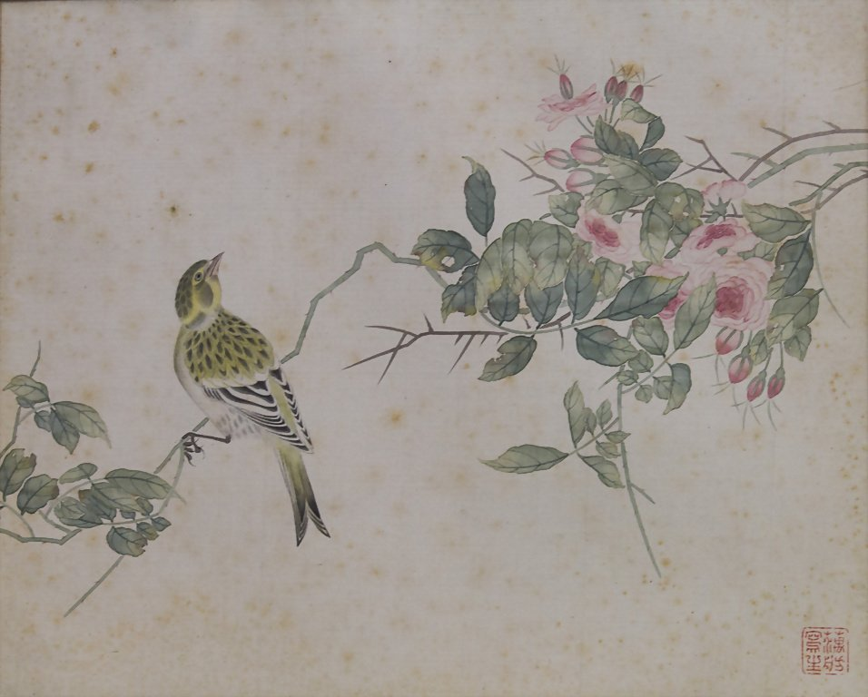 2 Aquarelle / Watercolor Paintings on Silk, China, um - 2