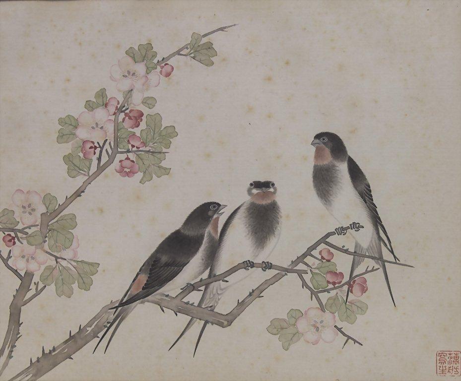 2 Aquarelle / Watercolor Paintings on Silk, China, um - 3