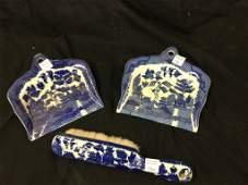 Blue & white dust pans & brush