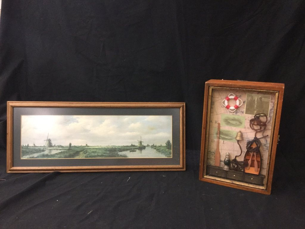 Windmill picture & nautical shadow box