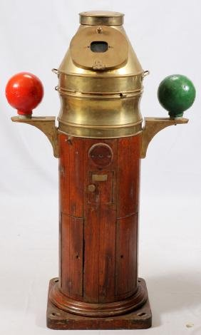 BRASS IRON AND CYLINDRICAL TEAK WOOD BINNACLE