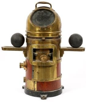 BRASS IRON AND WOOD YACHT BINNACLE W/ COMPASS C1900