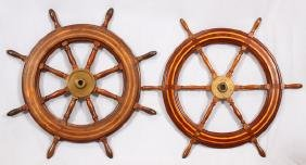 TEAK WOOD INLAY AND BRASS SHIP'S WHEELS 2