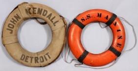 JOHN KENDALL DETROIT & SS MAXINE LIFE RINGS